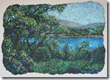 Солнечная бухта, авторская бумага, акрил, пастель, 45х50