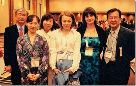 Анна Шапкина. 2008 г. в Токио на международной конференции с Е. Шмыревой