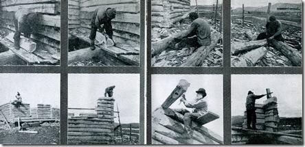 Процесс постройки избы наставником Ксенофонтом Бодуновым